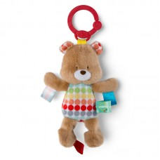 Плюшевая подвеска с бирками - мишка с колокольчиком