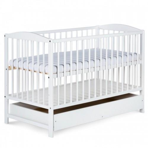 Детская кроватка 120x60 см с выдвижным ящиком Klupek Radek II белая