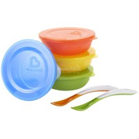 Набор посуды: 4 миски с крышками + 2 ложки