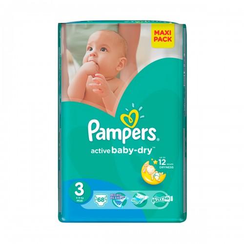 Подгузники Pampers Active Baby Midi 3 (4-9 кг), 68 шт.